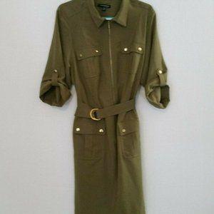 SHARAGANO Green Safari Style Belted Shirt Dress